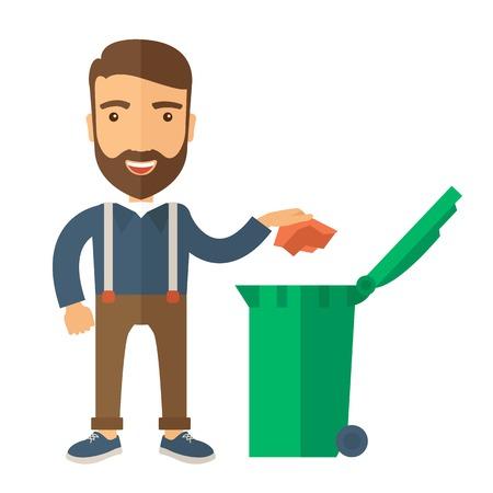 Un hombre caucásico tirar un papel arrugado en un cubo de basura verde. Un estilo contemporáneo. Aislado Vector diseño plano ilustración de fondo blanco. Diseño Square