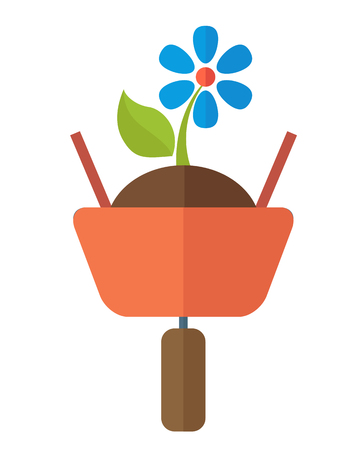 floriculture: A wheelbarrow with soil and flower plant. A Contemporary style. Vector flat design illustration isolated white background. Vertical layout.