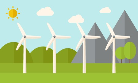 alternative energy: Four windmills standing under the heat of the sun. A Contemporary style with pastel palette, soft blue tinted background with desaturated clouds. Vector flat design illustration. Horizontal layout. Illustration