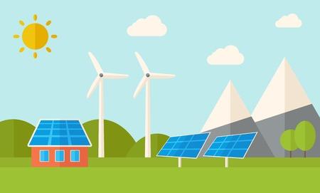 consumo energia: Una casa con un consumo di energia alternativa, pannelli solari e mulini a vento. Uno stile moderno con pastello tavolozza, morbido sfondo tinta blu con le nubi desaturated. Vector design piatto illustrazione. Il layout orizzontale. Vettoriali