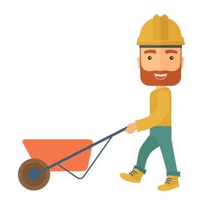 wheelbarrow: A male gardener wearing hard hat pushing a wheelbarrow. A Contemporary style. Vector flat design illustration isolated white background. Square layout