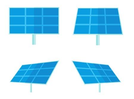 paneles solares: Cuatro paneles solares para la generación de energía alternativa. Un estilo contemporáneo. Aislado Vector diseño plano ilustración de fondo blanco. Diseño Square