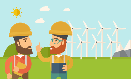 warmness: A two workers wearing hard hat talking infront of windmills under the sun. A Contemporary style with pastel palette, soft blue tinted background with desaturated clouds. Vector flat design illustration. Horizontal layout. Illustration