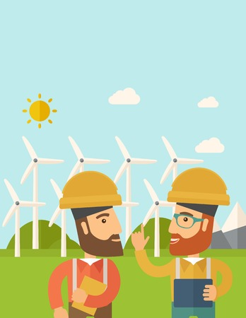 warmness: A two workers wearing hard hat talking infront of windmills under the sun. A Contemporary style with pastel palette, soft blue tinted background with desaturated clouds. Vector flat design illustration. Vertical layout with text space on top part.