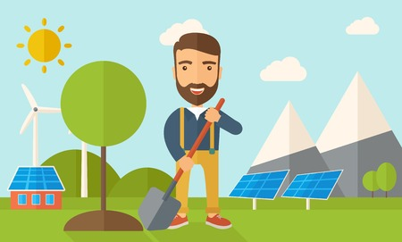 flat earth: A happy gardener planting a tree using in his yard using shovel under the heat of the sun. A Contemporary style with pastel palette, soft blue tinted background with desaturated clouds. Vector flat design illustration. Horizontal layout. Illustration
