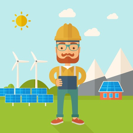 panels: A young hipster male standing while holding a blueprint monitoring the solar panels with wind turbine. A Contemporary style with pastel palette, soft blue tinted background with desaturated clouds. Vector flat design illustration. Square layout.