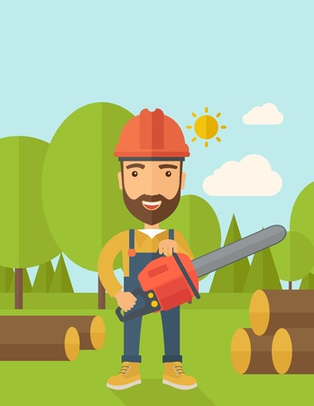 Lumberjack with hard hat as protection cuts a tree by chainsaw under the heat of the sun. A Contemporary style with pastel palette, soft blue tinted background with desaturated clouds. Vector flat design illustration. Vertical layout with text space on to Vector