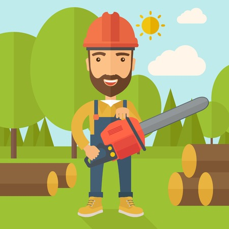 Lumberjack with hard hat as protection cuts a tree by chainsaw under the heat of the sun. A Contemporary style with pastel palette, soft blue tinted background with desaturated clouds. Vector flat design illustration. Square layout. Stock Illustratie