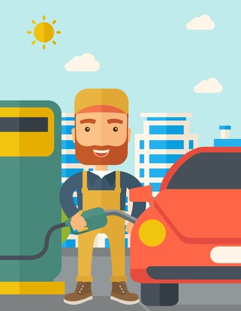 A happy hipster gasoline boy filling up fuel into the car. A Contemporary style with pastel palette, soft blue tinted background with desaturated clouds. Vector flat design illustration. Vertical layout.