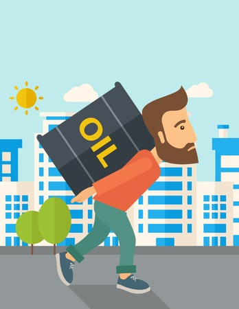 desaturated: A businessman walking while carrying a heavy barrel of oil for delivery. A Contemporary style with pastel palette, soft blue tinted background with desaturated clouds. Vector flat design illustration. Vertical layout with text space on top part. Illustration