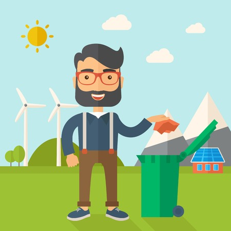 A caucasian man throwing a crumpled paper in a green garbage bin. A Contemporary style with pastel palette, soft blue tinted background with desaturated clouds. Vector flat design illustration. Square layout.