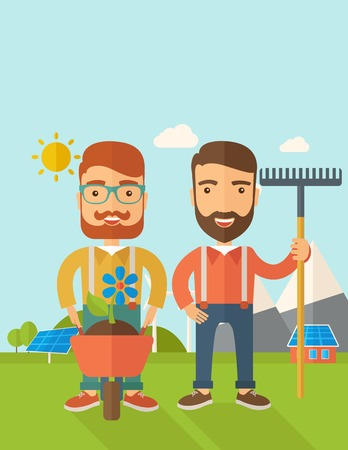 A two smiling gardener carries a plant in wheelbarrow and holding a rake. A Contemporary style with pastel palette, soft blue tinted background with desaturated clouds. Vector flat design illustration. Vertical layout with text space on top part 向量圖像