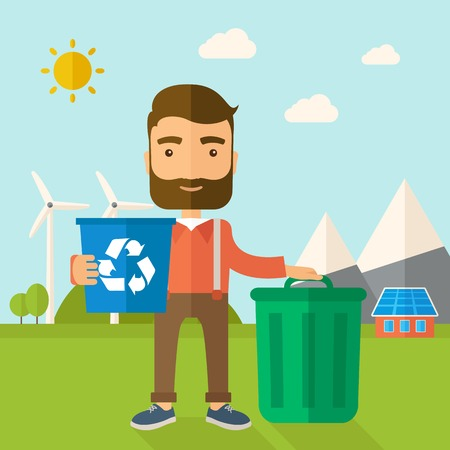 A Caucasian standing outside the house sorting a trash and will throw to the barbage bin. Eco-friendly. A Contemporary style with pastel palette, soft blue tinted background with desaturated clouds. Vector flat design illustration. Square layout.