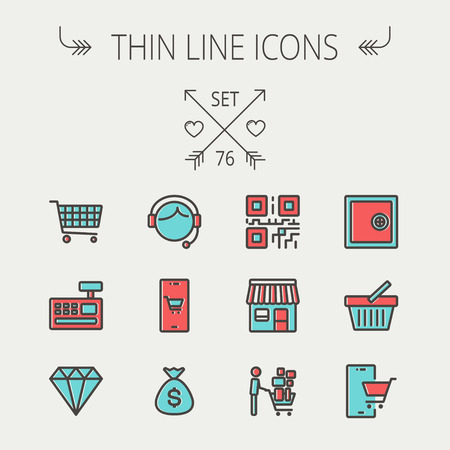 cart cash: Business shopping thin line icon set for web and mobile. Set includes - shopping cart, cash register machine, customer service, QR code, store stall, safe, vault, shopping basket icons. Modern minimalistic flat design. Vector icon with dark grey outline a