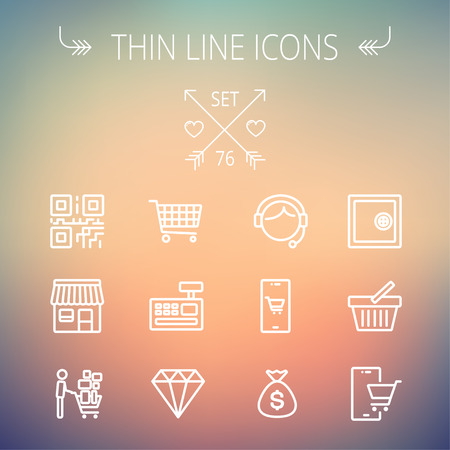 cart cash: Business shopping thin line icon set for web and mobile. Set includes- shopping cart, cash register machine, customer service, QR code, store stall, safe, vault, shopping basket icons. Modern minimalistic flat design. Vector white icon on gradient mesh ba