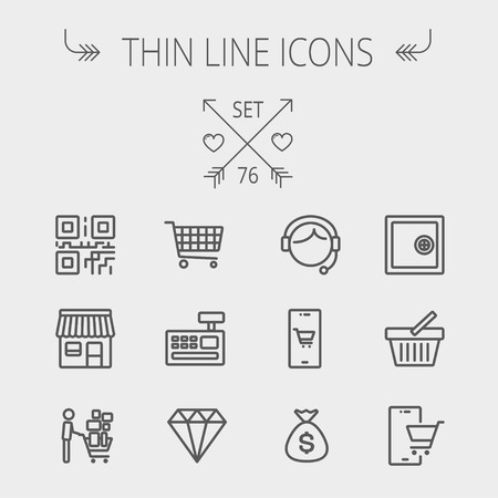 Business shopping thin line icon set for web and mobile. Set includes- shopping cart, cash register machine, customer service, QR code, store stall, safe, vault, shopping basket icons. Modern minimalistic flat design. Vector dark grey icon on light grey b Illustration