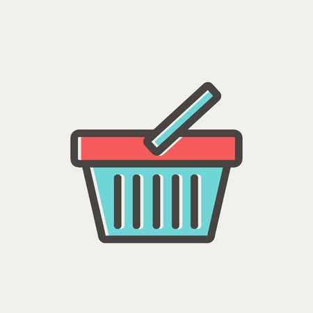 shopping cart icon: Shopping basket icon thin line for web and mobile, modern minimalistic flat design. Vector icon with dark grey outline and offset colour on light grey background.