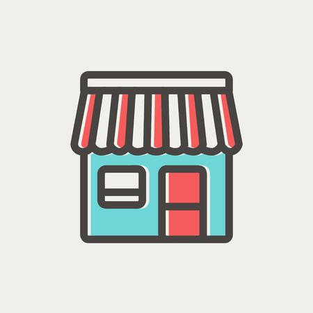 bancarella: Conservare stallo icona linea sottile per il web e mobile, moderno design piatto minimalista. Icona di vettore con contorno grigio scuro e di colore di offset su sfondo grigio chiaro.