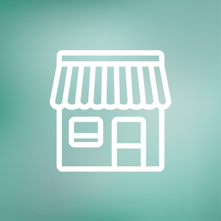 convenient store: Store stall icon thin line for web and mobile, modern minimalistic flat design. Vector white icon on gradient mesh background. Illustration