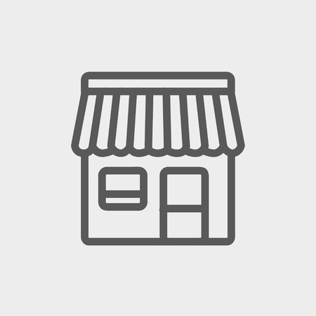 awnings: Store stall icon thin line for web and mobile, modern minimalistic flat design. Vector dark grey icon on light grey background. Illustration
