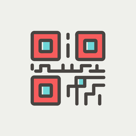 quick response: QR code icon thin line for web and mobile, modern minimalistic flat design. Vector icon with dark grey outline and offset colour on light grey background.