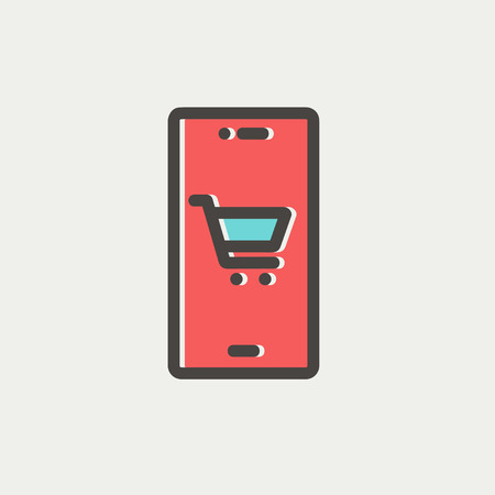 Map and location of shopping cart icon thin line for web and mobile, modern minimalistic flat design. Vector icon with dark grey outline and offset colour on light grey background. Illustration