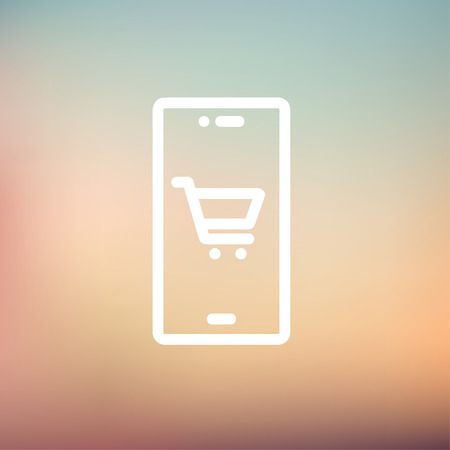 Map and location of shopping cart icon thin line for web and mobile, modern minimalistic flat design. Vector white icon on gradient mesh background. Illustration