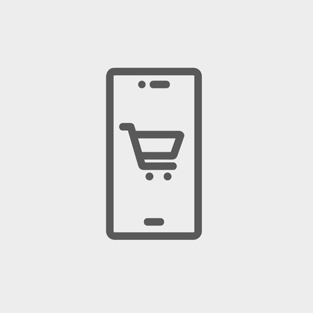 Map and location of shopping cart icon thin line for web and mobile, modern minimalistic flat design. Vector dark grey icon on light grey background.