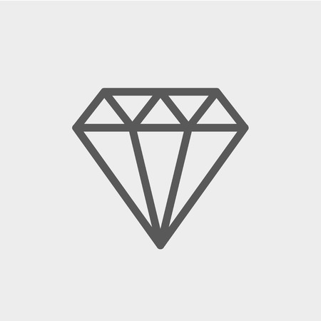 glass reflection: Diamond icon thin line for web and mobile, modern minimalistic flat design. Vector dark grey icon on light grey background. Illustration