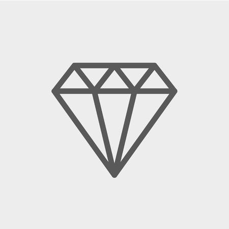 reflection: Diamond icon thin line for web and mobile, modern minimalistic flat design. Vector dark grey icon on light grey background. Illustration