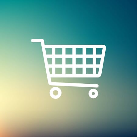 shopping cart icon: Shopping cart icon thin line for web and mobile, modern minimalistic flat design. Vector white icon on gradient mesh background. Illustration