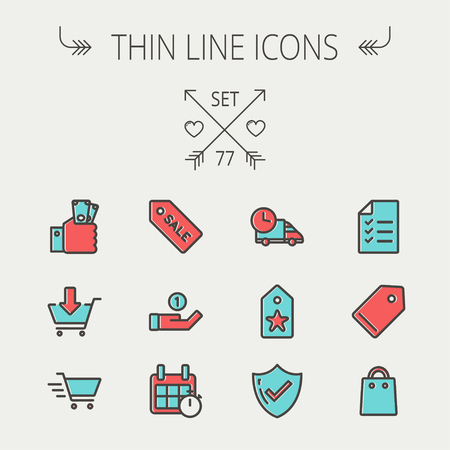 checklist: Business shopping thin line icon set for web and mobile. Set includes -  sale tag, calendar with stopwatch, cash on hand, fast delivery, checklist, empty tag, shopping bag icons. Modern minimalistic flat design. Vector icon with dark grey outline and offs