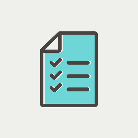 checklist: Checklist icon thin line for web and mobile, modern minimalistic flat design. Vector icon with dark grey outline and offset colour on light grey background. Illustration