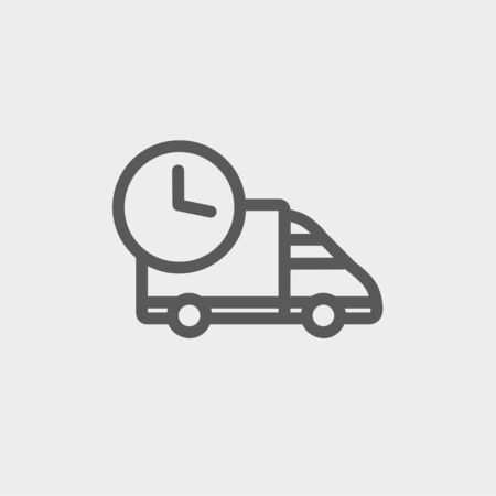 rushing hour: On time delivery icon thin line for web and mobile, modern minimalistic flat design. Vector dark grey icon on light grey background.