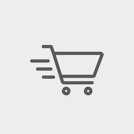 shopping cart icon: Fast delivery shopping cart icon thin line for web and mobile, modern minimalistic flat design. Vector dark grey icon on light grey background.