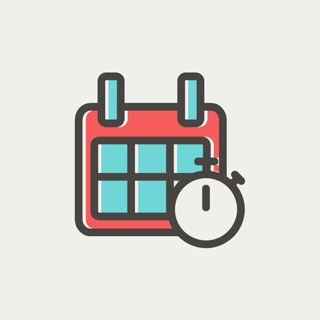 calendar page: Calendar and stopwatch icon thin line for web and mobile, modern minimalistic flat design. Vector icon with dark grey outline and offset colour on light grey background.