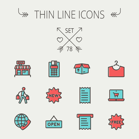 Business shopping thin line icon set for web and mobile. Set includes - electronic calculator, new tag, open sign, box, paper towel, shop, internet shopping, free tag   icons. Modern minimalistic flat design. Vector icon with dark grey outline and offset  Vector