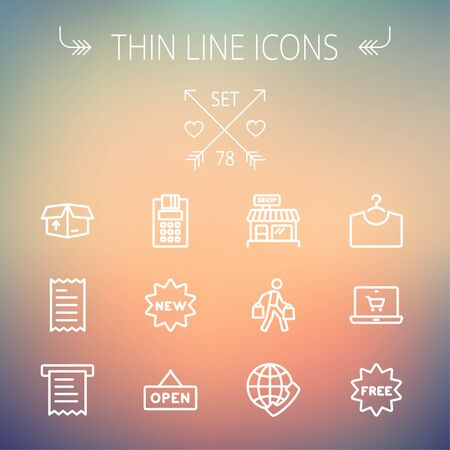 Business shopping thin line icon set for web and mobile. Set includes- electronic calculator, new tag, open sign, box, paper towel, shop, internet shopping, free tag  icons. Modern minimalistic flat design. Vector white icon on gradient mesh background. Vector