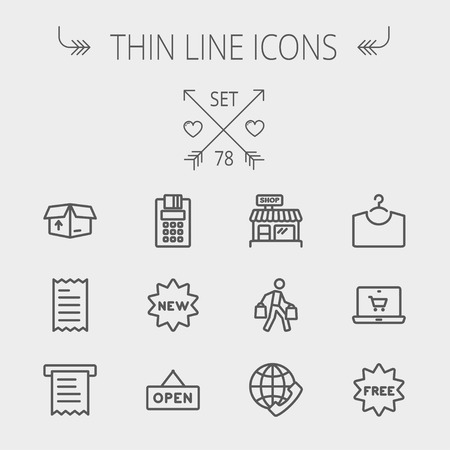 Business shopping thin line icon set for web and mobile. Set includes- electronic calculator, new tag, open sign, box, paper towel, shop, internet shopping, free tag icons. Modern minimalistic flat design. Vector dark grey icon on light grey background. Illustration