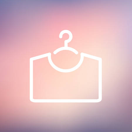 t shirt printing: Shirt on hanger icon thin line for web and mobile, modern minimalistic flat design. Vector white icon on gradient mesh background.