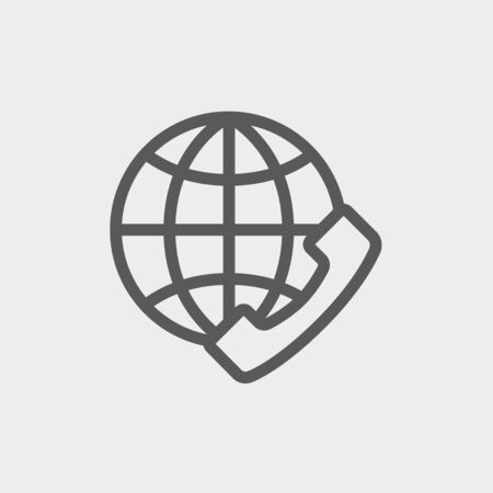 technology transaction: Global internet shopping icon thin line for web and mobile, modern minimalistic flat design. Vector dark grey icon on light grey background.