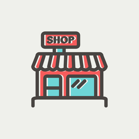 business desk: Business shop icon thin line for web and mobile, modern minimalistic flat design. Vector icon with dark grey outline and offset colour on light grey background.