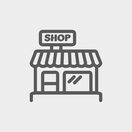 Business shop icon thin line for web and mobile, modern minimalistic flat design. Vector dark grey icon on light grey background. 일러스트