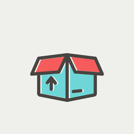 Box with arrow up inward, incoming, loading icon thin line for web and mobile, modern minimalistic flat design. Vector icon with dark grey outline and offset colour on light grey background.