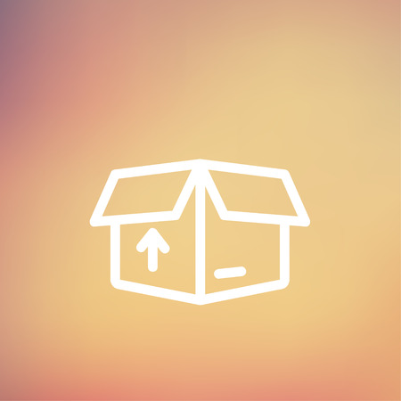 Box with arrow up inward, incoming, loading icon thin line for web and mobile, modern minimalistic flat design. Vector white icon on gradient mesh background.
