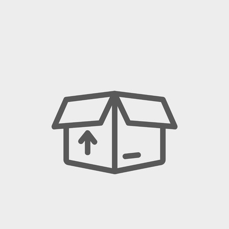 unpacking: Box with arrow up inward, incoming loading icon thin line for web and mobile, modern minimalistic flat design. Vector dark grey icon on light grey background.