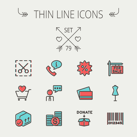 Business shopping thin line icon set for web and mobile. Set includes - stack of coins, cart with heart, box with validation, credit cards, donation box, mannequin, barcode icons. Modern minimalistic flat design. Vector icon with dark grey outline and off