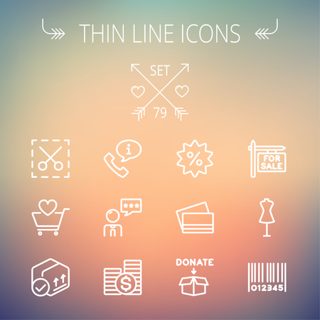 validation: Business shopping thin line icon set for web and mobile. Set includes- stack of coins, cart with heart, box with validation, credit cards, donation box, mannequin, barcode  icons. Modern minimalistic flat design. Vector white icon on gradient mesh backgro