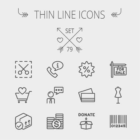 validation: Business shopping thin line icon set for web and mobile. Set includes- stack of coins, cart with heart, box with validation, credit cards, donation box, mannequin, barcode icons. Modern minimalistic flat design. Vector dark grey icon on light grey backgro
