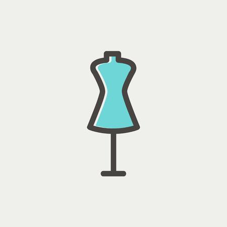 Maniquí icono de línea delgada para web y móvil, diseño plano minimalista moderno. Vector icono con el esquema de color gris oscuro y el color offset sobre fondo gris claro. Foto de archivo - 40447221